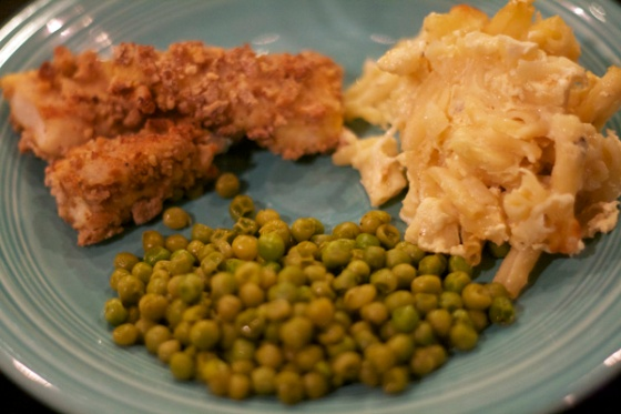 Homemade Catfish Sticks, Macaroni & Cheese, and Peas.