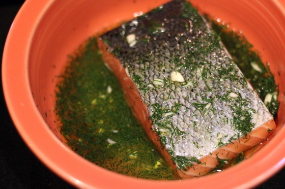 Salmon marinating