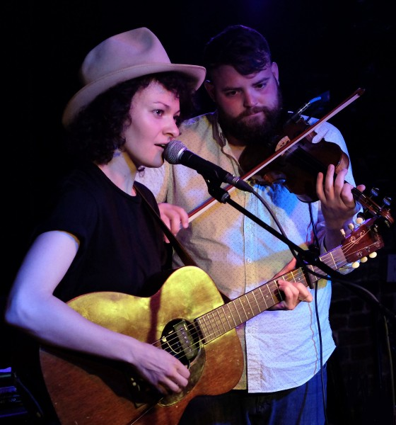 Jesse Lafser with fiddler at the Basement, April 25, 2015.