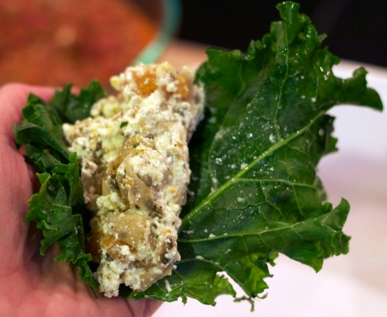 Use the kale leaf as a pasta shell and stuff it full!