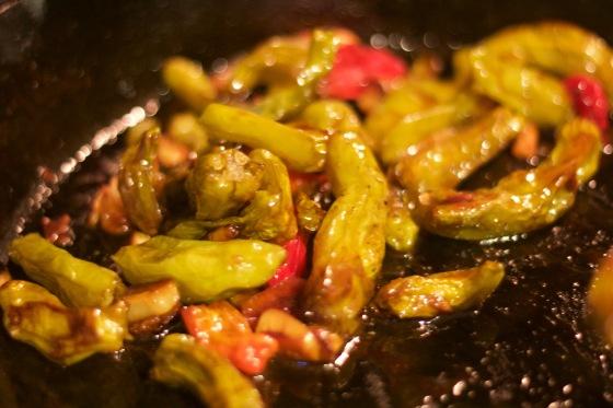 Shishito Garlic Cooking